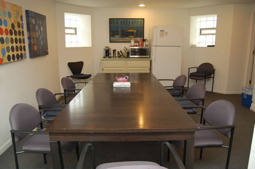 Lower level meeting room and kitchen